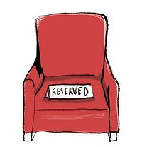empty chair with reserved sign - voluntary absence from trial